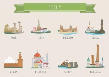 밀라노: 도시의 상징. 이탈리아. 벡터 설정