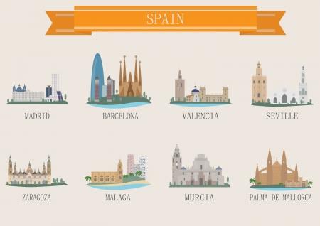 barcelona city: City symbol. Spain. Vector set