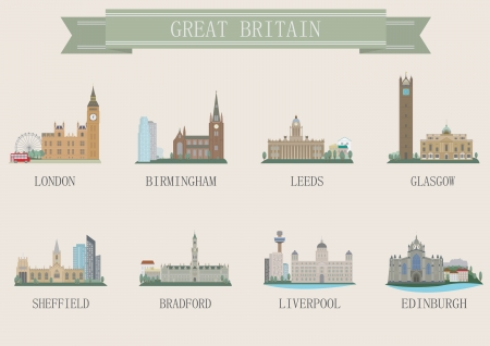 leeds: City symbol. UK. Vector set