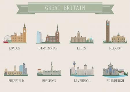 birmingham: City symbol. UK. Vector set