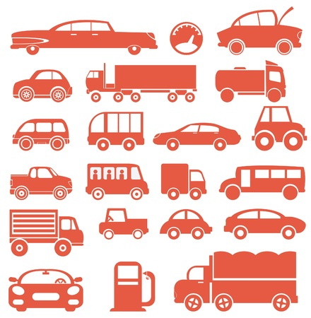 Icon set. Cars Vector