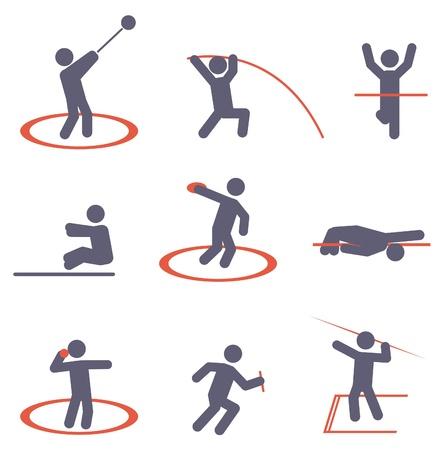 lanzamiento de jabalina: Deporte iconos conjunto de vectores Vectores