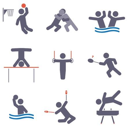 natación sincronizada: Deporte iconos conjunto de vectores Vectores