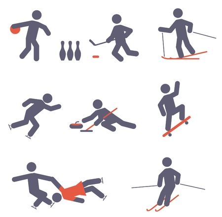 curling: Sport icons. Vector set