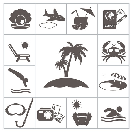 pearl shell: Tropic resort icons  For you design Illustration