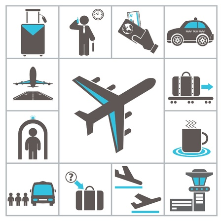aircraft landing: Airport icons  Set for you design Illustration