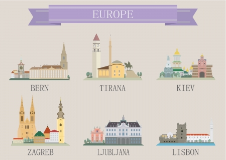 City symbol  Europe  Vector set for you design Vector