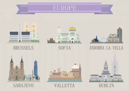 remote view: City symbol  Europe  Vector set for you design