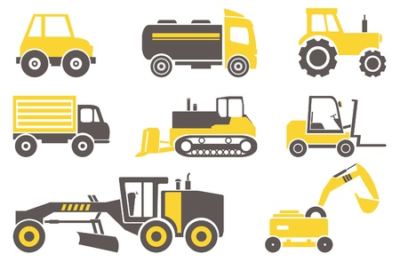 labor strong: Construction machines  Set for you design  Illustration