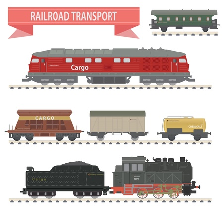 ferrocarril: Los trenes del ferrocarril de conjunto para que el dise�o Vectores