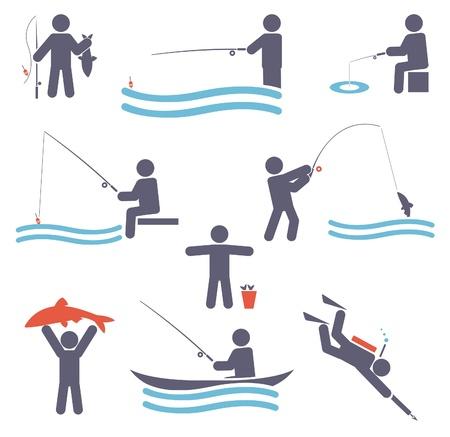 Fishing symbols  Set icons  Vector