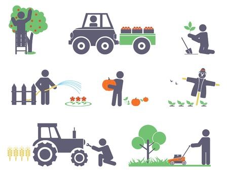 Work in the garden  Vector set for you design Ilustração
