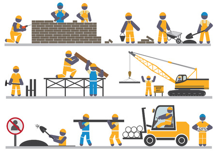building activity: Construction workers  Vector for you design Illustration