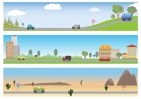 hill: Road  Vector set for you design  Illustration