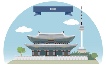 Seoul, Korea  For you design Vector
