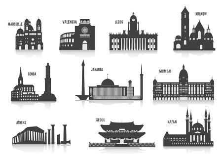 あなたのデザインのための都市セットのシルエット