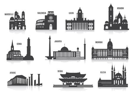 indonesien: Silhouetten der St�dte Set f�r Sie entwerfen Illustration