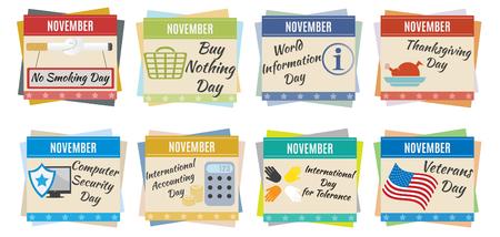 World holidays  November  For you design Vector