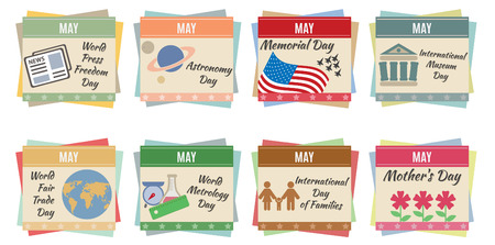 World holidays  May  For you design Vector