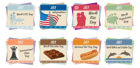 World holidays  July  For you design Vector