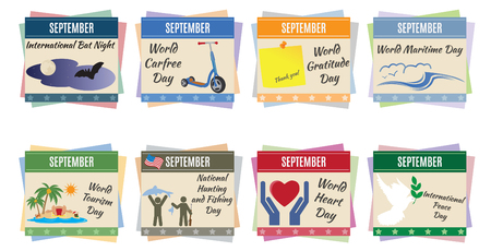 World holidays  September  For you design Vector