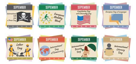 World holidays  September  For you design Vector