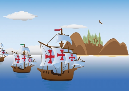 caravel: The discovery of America  Vector for you design