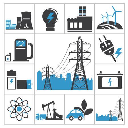 hydroelectric station: Icone di energia insieme vettoriale per la progettazione
