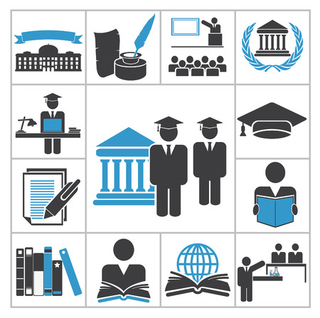 lectures: High education icons  Vector set for you design Illustration