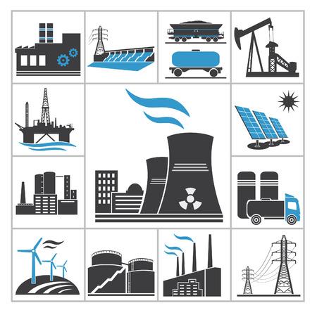gasolinera: Conjunto de iconos de energ�a del vector para dise�ar