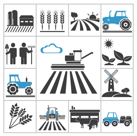 agricultura: Iconos Agricultura Vector set para que el dise�o