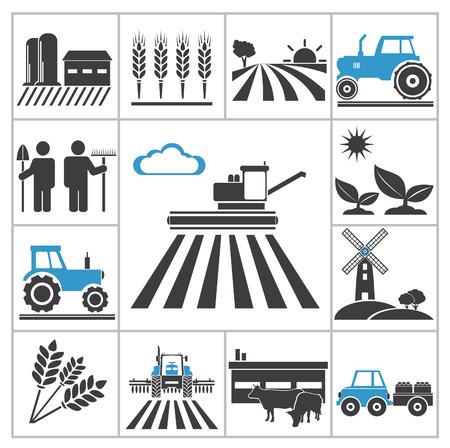 yel değirmenleri: Tarım simgeleri tasarım için vektör seti