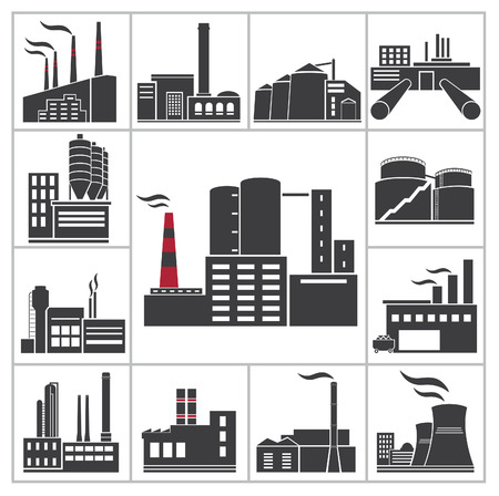 warehouse building: Factory and industry icons  Vector set