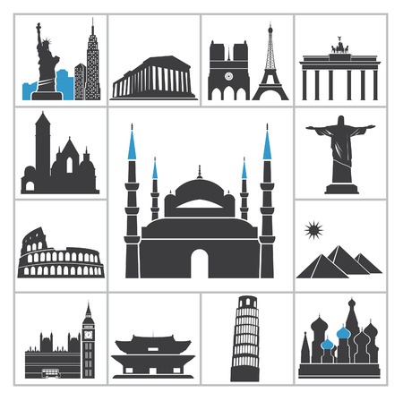 travel locations: Landmark travel icons  Vector set for you design Illustration