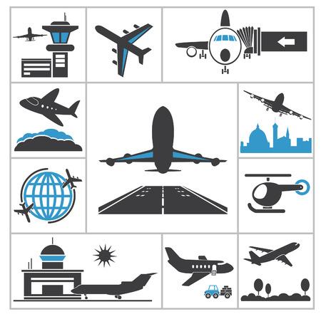 Luchthaven pictogram Vector set voor u ontwerpen Stock Illustratie
