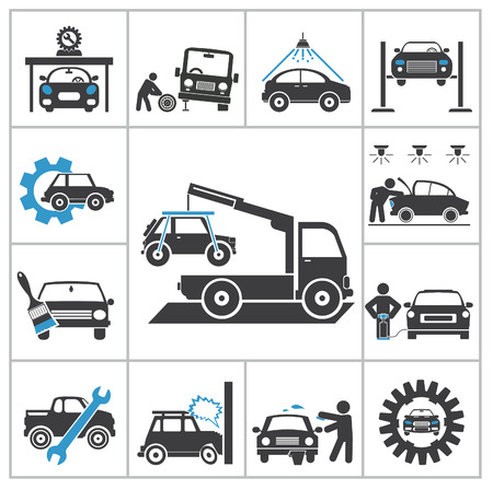 cable car: Auto repair icons  Vector set for you design Illustration