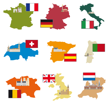 Flags and countries  Vector collection Vector