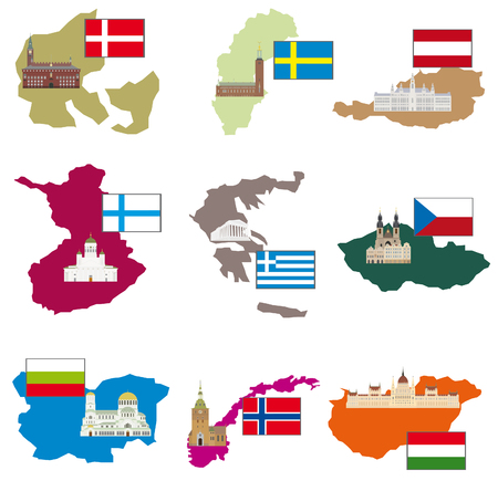 bulgaria flag: Flags and countries  Vector collection Illustration