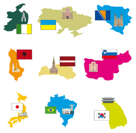 seoul: Flags and countries  Vector collection Illustration