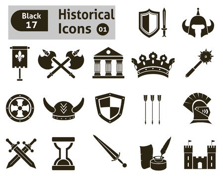 sword fight: Histoical icons  Vector set for you design Illustration