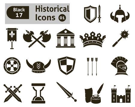 alabarda: Icone Histoical insieme vettoriale per la progettazione