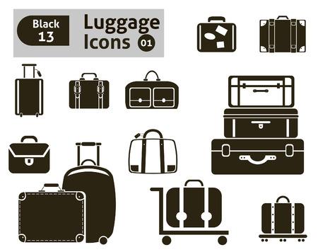 luggage icons set Vektoros illusztráció