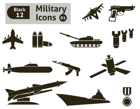 bombing: Militaire icons set Stock Illustratie