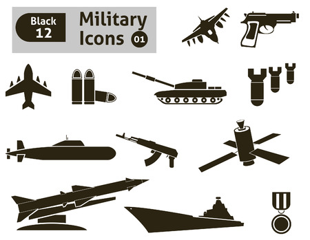 battle tank: Military icons set