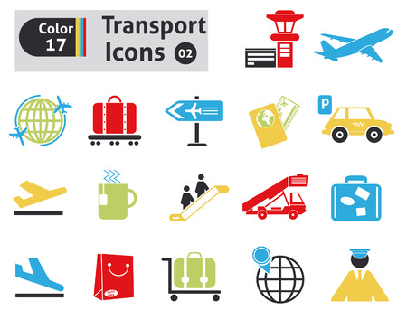 parking sign: Transport icons set