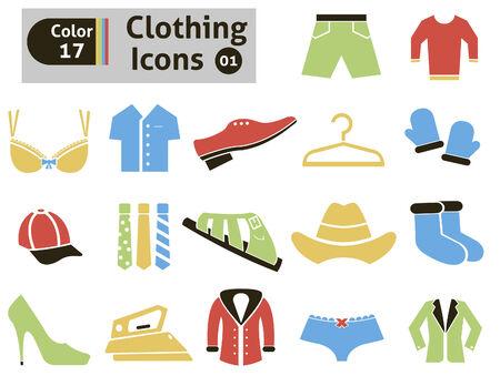 long socks: Clothing icons set Illustration