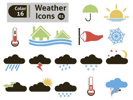 typhoon: Weather icons set Illustration