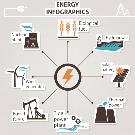 nuclear power: Energy infographics  Vector set for you design Illustration