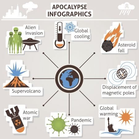 atomic explosion: Apocalypse infographics  Vector for you design Illustration