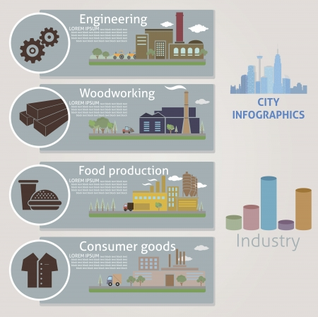 food industry: City  Industry  Vector for you design